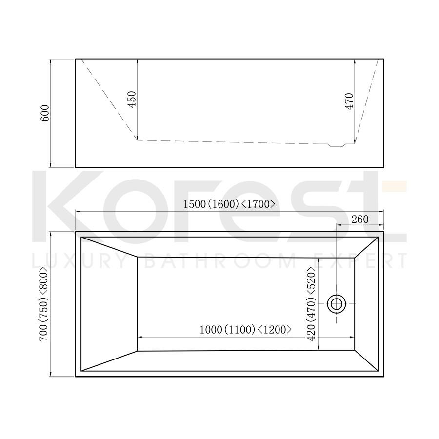 Bồn tắm Freestanding BTKR362S-170N